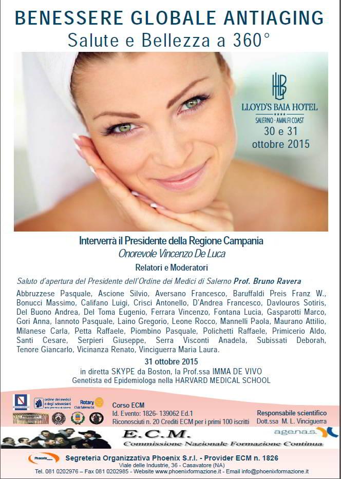 """Convegno """"Benessere globale Antiaging"""" – Vietri sul Mare (SA): 30,31 ottobre 2015"""