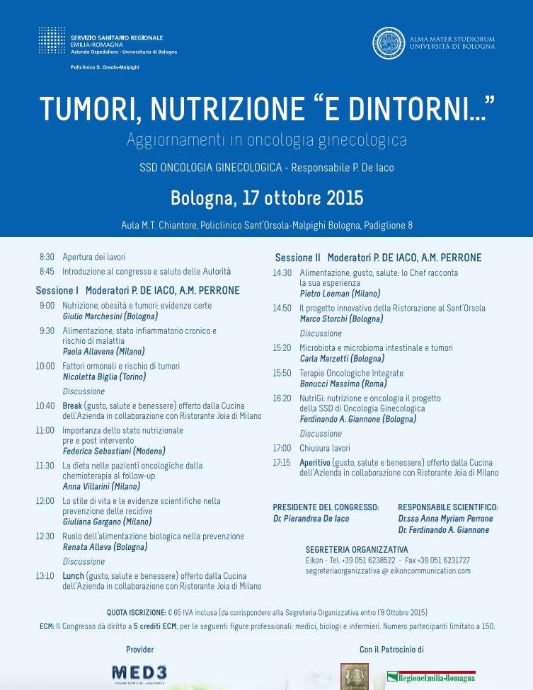 Tumori, nutrizione e dintorni – Bologna 17/10/2015