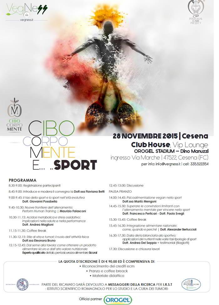 Cibo, corpo, mente e sport – Cesena: 28/11/2015
