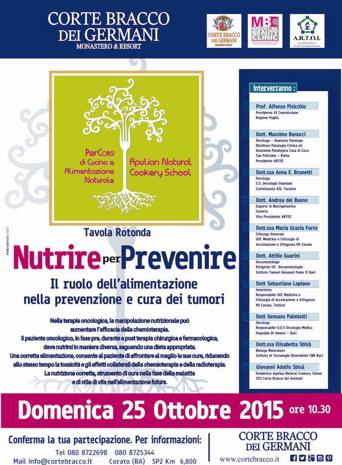 """Tavola Rotonda """"Nutrire per prevenire"""" – Corato (BA): 25/10/2015"""